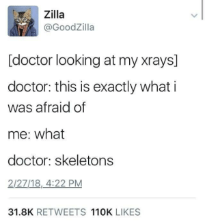 spooky scary by EarlyHemisphere FOLLOW 4 MORE MEMES.: Zilla  @GoodZilla  [doctor looking at my xrays]  doctor: this is exactly what i  was afraid of  me: what  doctor: skeletons  2/27/18, 4:22 PM  31.8K RETWEETS 110K LIKES spooky scary by EarlyHemisphere FOLLOW 4 MORE MEMES.