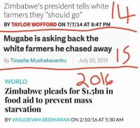 "Zimbabwe.: Zimbabwe's president tells white  farmers they ""should go""  BY TAYLOR WOFFORD ON 7/7/14 AT 8:47 PM  Mugabe is asking back the  white farmers he chased away  By Tinashe Mushakavanhu July 20, 2015  WORLD  Zimbabwe pleads for S1.5bn in  food aid to prevent mass  starvation  BY  VASUDEVAN SRIDHARAN ON 2/10/16 AT 5:30 AM Zimbabwe."