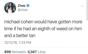 Judge him not by the color of his skinno really by ihaveallthelions MORE MEMES: Ziwe  @ziwe  michael cohen would have gotten more  time if he had an eighth of weed on him  and a better tan  12/12/18, 1:33 PM  898 Retweets 5,567 Likes Judge him not by the color of his skinno really by ihaveallthelions MORE MEMES