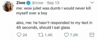Blackpeopletwitter, Dumb, and Wow: Ziwe@ziwe Sep 13  me: wow juliet was dumb I would never kill  myself over a boy  also, me: he hasn't responded to my text in  45 seconds, should I eat glass  24 1.4K 7.2K <p>Glass with a bottle of bleach please 😔 (via /r/BlackPeopleTwitter)</p>