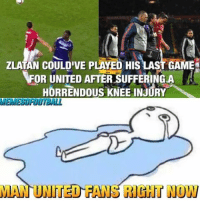 Wow.....😳: ZLATAN COULDIVE PLAYED HISLAS  FOR UNITED AFTER SUFFERING A  HORRENDOUS KNEE INJURY  MEMEEUROOTBALL  MAN UNITED FA  RIGHT NOW Wow.....😳
