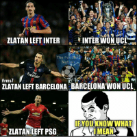 IYKWIM 😂  Credits: The Football Nation: ZLATAN LEFT INTER  INTER WON UCL  The FootbalL  Nation  minates  #rms7  ZLATAN LEFT BARCELONA BARCELONA WON UCL  IFYI  KNOW WHAT IYKWIM 😂  Credits: The Football Nation