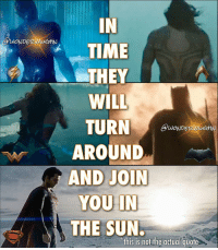 Memes, 🤖, and Villains: ZMA  IN  TIME  THEY  WILL  TURN  DETZMAU  AROUND  AND JOIN  YOU IN  THE SUN.  this is not the actual quote KAL, THEY WILL JOIN YOU...with solo films of their own! ** WONDER WOMAN starring @gal_gadot Director: Patty Jenkins Release Date: June 2, 2017 Villains: Ares (David Thewlis) and Dr. Poison (Elena Anaya) ** AQUAMAN starring @prideofgypsies Director: @creepypuppet Release Date: December 21, 2018 (NEW DATE) Villains: Black Manta (@yahya) and Ocean Master (Patrick Wilson) ** THE BATMAN starring @benaffleck Director: Matt Reeves Release Date: possibly 2019 Villain: Deathstroke (@joemanganiello) ** FLASH starring Ezra Miller Director: still looking Release Date: possibly 2019 Villains: The Rogues with Captain Boomerang (@jaicourtney) ** MAN OF STEEL 2 starring @henrycavill Director: Matthew Vaughn (in talks) Release Date: possibly 2020 Villain: possibly Brainiac