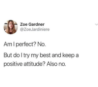 Best, Attitude, and MeIRL: Zoe Gardner  @ZoeJardiniere  Am I perfect? No.  But do l try my best and keep a  positive attitude? Also no. Meirl