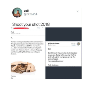 Goals, Tumblr, and Summer: zoe  @zzzoe14  Shoot your shot 2018  To: t  Hide-  Final  Today at 2:05 PM  Hi,  You have been a great professor this semester and I  throughly enjoyed your class. I do have one question  though. I currently have a 99.4% in your course,  so.... Can I please skip the final? Ijust really don't  want to take the exam. Here's a picture of a puppy  and kitten cuddling if that helps you make your  decision.  William Anderson  To: Zoe Royer  2:27 PM  Details  WA  Zoë  Don't know if I have met a student as bold  as you are. Going to let you skip the final  and I will submit your grade as it is. The  picture helped  Have a good summer!  Prof. Anderson  Thanks,  Zoë daydreamingfeministreader:Professor Goals