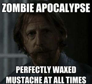 Memes, Best, and Walking Dead: ZOMBIE APOCALYPSE  PERFECTLY WAXED  MUSTACHE AT ALL TIMES The 30 Best Walking Dead Memes :: TV :: Galleries :: Memes :: Paste