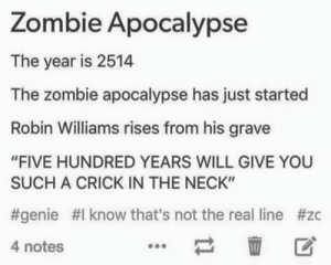 "Robin Williams, The Real, and Zombie: Zombie Apocalypse  The year is 2514  The zombie apocalypse has just started  Robin Williams rises from his grave  ""FIVE HUNDRED YEARS WILL GIVE YOU  SUCH A CRICK IN THE NECK""  #genie #1 know that's not the real line #zc  4 notes  壶 区 Zombie Apocalypse"