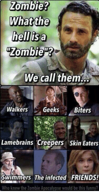 Zombie: Zombie?  What the  hell isan  Zombie  We call them  Walkers  Geeks  Biters  Lamebrains Creepers Skin Eaters  The infected FRIENDS!  Swimmers Who knew the Zombie Apocalypse would be this funny