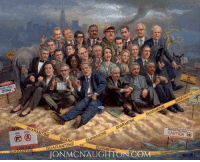 Memes, Paintings, and Hitler: ZONE  ARANTNE  QUARANTINE  QUARA  QUARANTINE  JON MCNAUGHTON COM  LIBE  ANTANE  CAUTION  OUARANTA My painting Liberalism is a Disease. I painted this as a satire, but many thought I was as bad as Hitler to suggest they be quarantined on an island. What more should I have added to this painting?