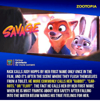 "Facts, Memes, and True: ZOOTOPIA  Follow  MISİ | @cinfacts  ACTS  for more content  NICK CALLS JUDY HOPPS BY HER FIRST NAME ONLY ONCE IN THE  FILM, AND IT'S AFTER THE SCENE WHERE THEY FLUSH THEMSELVES  FROM A TOILET. HE MORE COMMONLY CALLS HER ""RABBIT"", ""CAR-  ROTS."" OR ""FLUFF"". THE FACT HE CALLS HER BY HER FIRST NAME  WHEN HE IS MOST FRANTIC ABOUT HER SAFETY AFTER FALLING  INTO THE WATER BELOW MARKS HIS TRUE FEELINGS FOR HER. Nick and Judy need their own cop show. I'd watchit. Your thoughts?⠀ -⠀⠀ Follow @cinfacts for more facts"