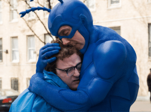 zootyryuu:  I just finished watching The Tick and I must urge everyone to watch it! Not only is it hilarious, but also provides a genuinely intriguing and sweet story about mental illness and accepting yourself. Plus it hands down has the best hugs of 2017.: zootyryuu:  I just finished watching The Tick and I must urge everyone to watch it! Not only is it hilarious, but also provides a genuinely intriguing and sweet story about mental illness and accepting yourself. Plus it hands down has the best hugs of 2017.