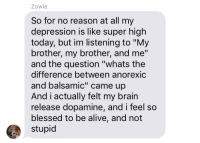 "Alive, Blessed, and Brain: Zowie  So for no reason at all my  depression is like super high  today, but im listening to ""My  brother, my brother, and me""  and the question ""whats the  difference between anorexic  and balsamic"" came up  And i actually felt my brain  release dopamine, and i feel so  blessed to be alive, and not  stupid"