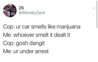 Marijuana, Harambe, and Car: ZS  HARAMBE  6SlonskyZach  Cop: ur car smells like marijuana  Me: whoever smelt it dealt it  Cop: gosh dangit  Me: ur under arrest