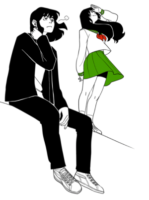 zu-art:  So I realized that now, as an adult that can draw much better/faster than when I was 15, I can draw all those AU fanarts I envisioned in my youth™ where Human Inuyasha had shoulder length hair and went to school with Kagome and everything was great and no one was in constant danger of dying.Also Kagome would wear biker shorts under her skirt because I said so.: zu-art:  So I realized that now, as an adult that can draw much better/faster than when I was 15, I can draw all those AU fanarts I envisioned in my youth™ where Human Inuyasha had shoulder length hair and went to school with Kagome and everything was great and no one was in constant danger of dying.Also Kagome would wear biker shorts under her skirt because I said so.