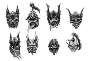 zuboros:  Night Lords helmet concepts.All digital in photoshop, an extension of this set that I did ages ago - https://www.deviantart.com/zuboros/art/Traitor-Legions-426931924: zuboros:  Night Lords helmet concepts.All digital in photoshop, an extension of this set that I did ages ago - https://www.deviantart.com/zuboros/art/Traitor-Legions-426931924