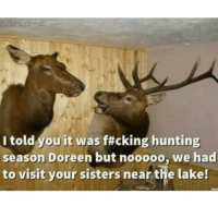 Funny, God, and Sister, Sister: I told you it was f#cking hunting  season Doreen but nooooo, we had  to visit your sisters near the lake! God Doreen you are so stupid!
