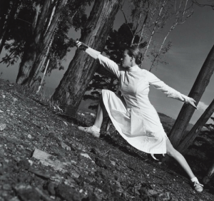 zzzze:  John Gutmann Helene Mayer, Two Time Olympic Fencing Champion, 1935 [tilted view of her in fencing tunic, thrusting with her épée on stony ground; trees] - gelatin silver print: zzzze:  John Gutmann Helene Mayer, Two Time Olympic Fencing Champion, 1935 [tilted view of her in fencing tunic, thrusting with her épée on stony ground; trees] - gelatin silver print