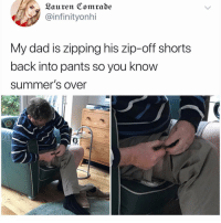 Dad, Funny, and Back: ~Lauren Comrade  @infinityonhi  My dad is zipping his zip-off shorts  back into pants so you know  summer's over It's a wrap folks.