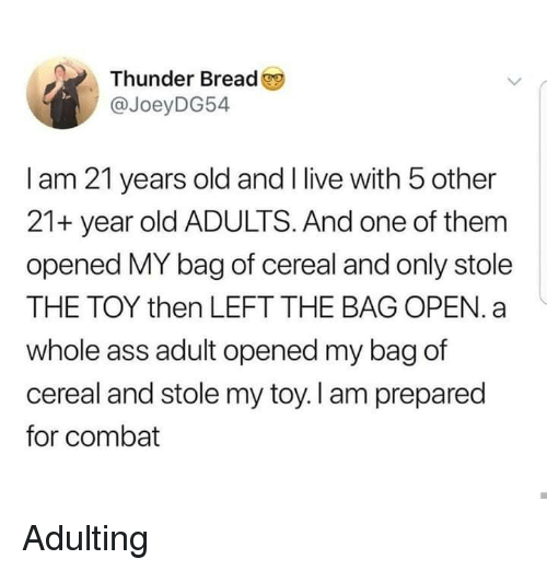 Ass, Live, and Old: Thunder Bread  @JoeyDG54  I am 21 years old and I live with 5 other  21+ year old ADULTS. And one of them  opened MY bag of cereal and only stole  THE TOY then LEFT THE BAG OPEN. a  whole ass adult opened my bag of  cereal and stole my toy. I am prepared  for combat Adulting