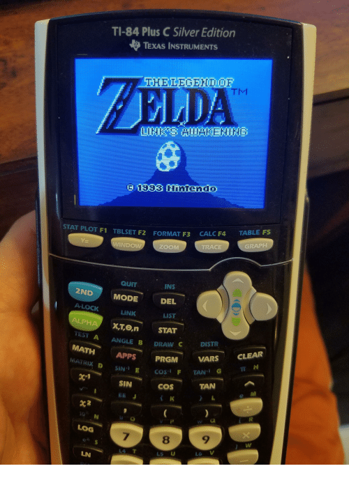 Zoom, Apps, and Calc: TI-84 Plus C Silver Edition  TEXAS INSTRUMENTS  ZELDA  533 IEHI  STAT PLOT F1  CALC F4  TABLE FS  TBLSET F2  FORMAT F3  TRACE  GRAPH  NDOW  ZOOM  QUIT  INS  2ND  A-LOCK  ALPHA XTe,n  MODE  DEL  LINK  X,T,e,n STAT  ANGLE B DRAW C  LIST  TEST A  ANGLE B DRAW CDISTR  MATH APPS PRGMVA  MATRIX D SIN E  PRGM VARS CLEAR  IT H  TAN  SIN  EE J  coS  e M  w G  LOG  7  8  9  LS U  LN