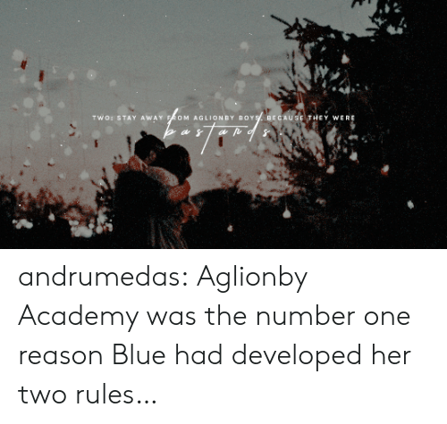 "Target, Tumblr, and Academy: TI"" O: STAY AWAY  OM AGLIONBY BOY  BECAUSE,TH  EY WERE andrumedas:    Aglionby Academy was the number one reason Blue had developed her two rules…"