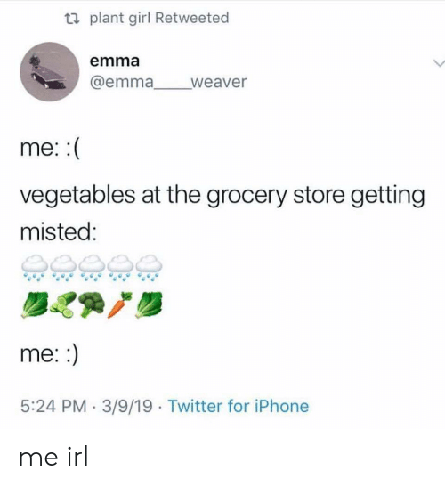 Iphone, Twitter, and Girl: ti plant girl Retweeted  emma  @emma weaver  me:  vegetables at the grocery store getting  misted:  me::  5:24 PM 3/9/19 Twitter for iPhone me irl