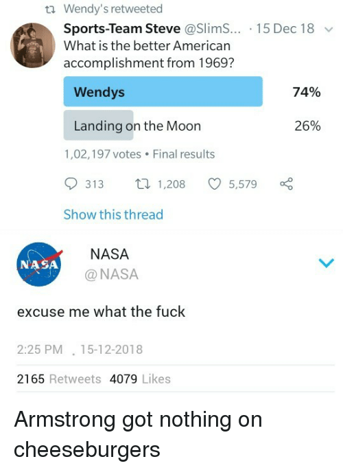 Nasa, Sports, and Wendys: ti Wendy's retweeted  Sports-Team Steve @SlimS...-1 5 Dec 18  What is the better American  accomplishment from 1969?  ﹀  Wendys  74%  Landing on the Moon  26%  1,02,197 votes Final results  313  1,208  5,579  Show this thread  NASA  @NASA  NASA  excuse me what the fuck  2:25 PM.15-12-2018  2165 Retweets 4079 Likes Armstrong got nothing on cheeseburgers