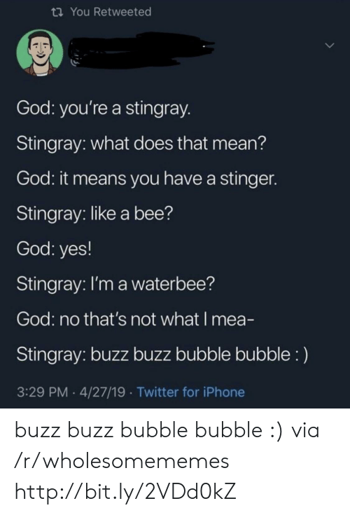 God, Iphone, and Twitter: ti You Retweeted  God: you're a stingray  Stingray: what does that mean?  God: it means you have a stingen  Stingray: like a bee?  God: yes!  Stingray: l'm a waterbee?  God: no that's not what I mea-  Stingray: buzz buzz bubble bubble:)  3:29 PM 4/27/19 Twitter for iPhone buzz buzz bubble bubble :) via /r/wholesomememes http://bit.ly/2VDd0kZ