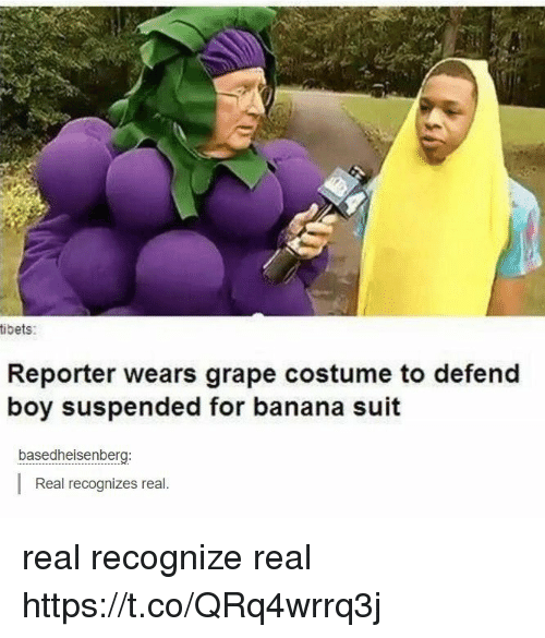 Banana, Boy, and Grape: tibets:  Reporter wears grape costume to defend  boy suspended for banana suit  basedheisenberg:  Real recognizes real. real recognize real https://t.co/QRq4wrrq3j