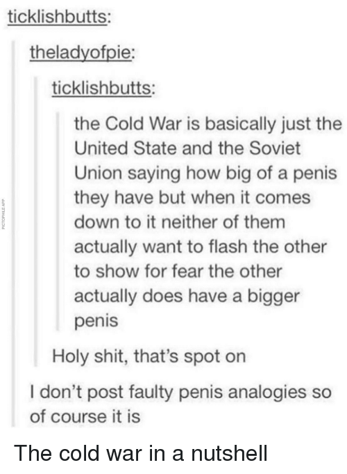 Shit, Penis, and United: ticklishbutts:  theladyofpie:  ticklishbutts:  the Cold War is basically just the  United State and the Soviet  Union saying how big of a peni  they have but when it comes  down to it neither of them  actually want to flash the other  to show for fear the other  actually does have a bigger  penis  0.  Holy shit, that's spot on  I don't post faulty penis analogies so  of course it is The cold war in a nutshell