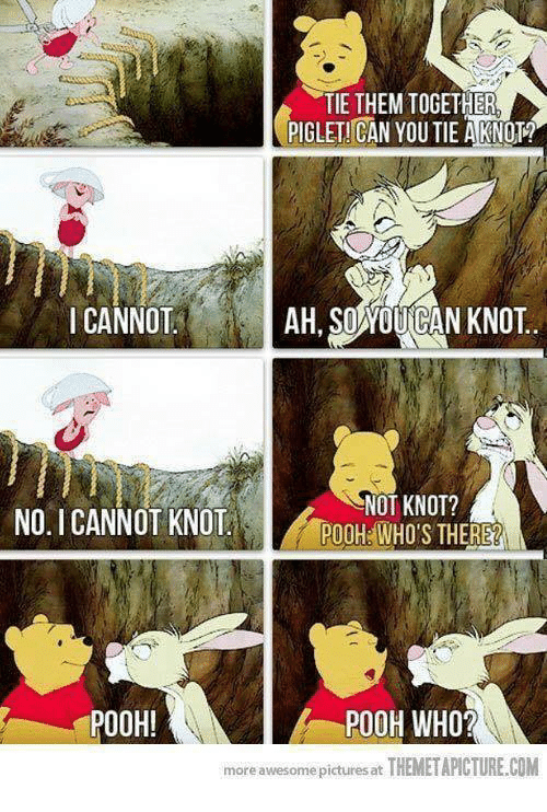 Memes, Pictures, and Awesome: TIE THEM TOGETHER  PIGLET! CAN YOU TIE AKNOT?  I CANNOTAH, SOYOUICAN KNOT..  NO. ICANNOT KNOT OHHOS THERE  NOT KNOT?  POOH WHO'S THERE?  POOH!  POOH WHO?  more awesome pictures at THEMETAPICTURE.COM