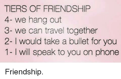 Tiers Of Friendship 4 We Hang Out 3 We Can Travel Together 2