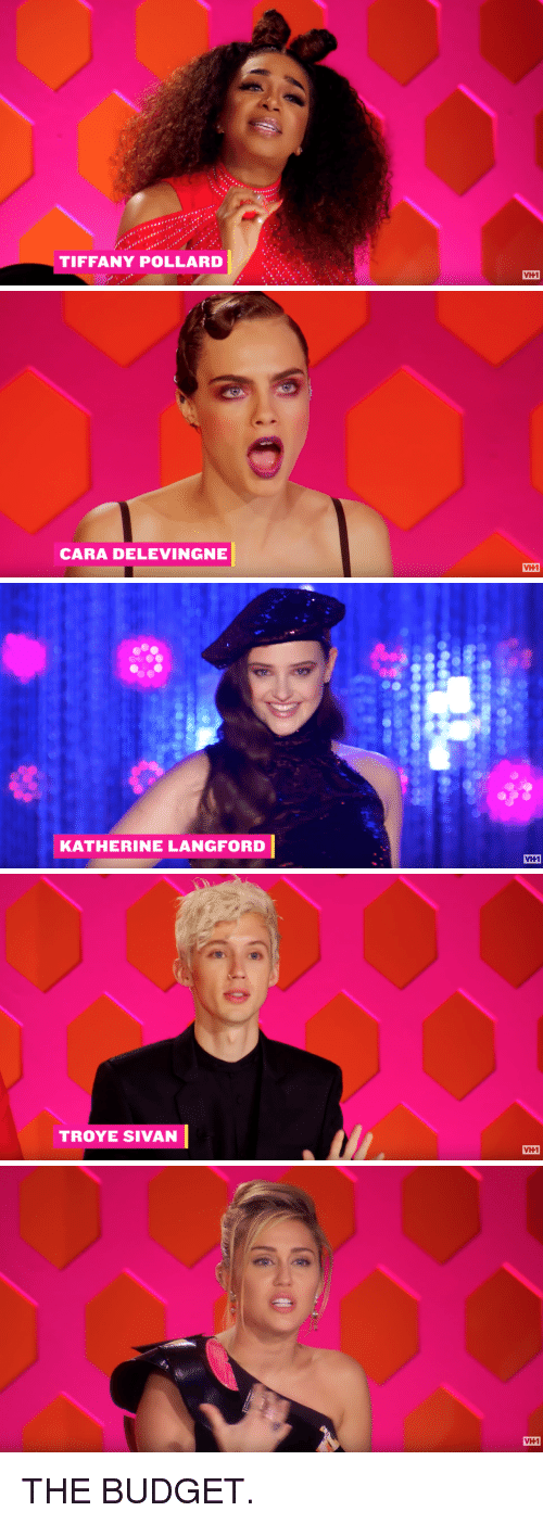Cara Delevingne, Troye Sivan, and Tiffany Pollard: TIFFANY POLLARD  VH1   CARA DELEVINGNE  VH1   KATHERINE LANGFORD  VH1   TROYE SIVAN  VH1   VH1 THE BUDGET.
