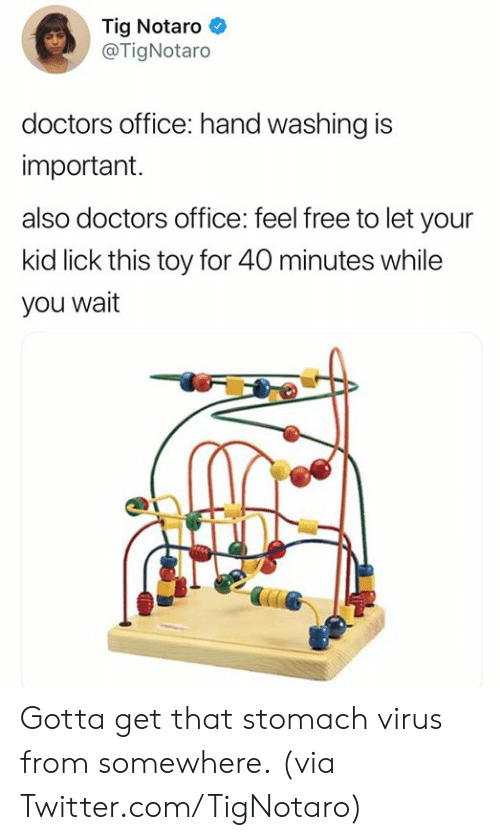 Dank, Twitter, and Free: Tig Notaro *  @TigNotaro  doctors office: hand washing is  important.  also doctors office: feel free to let your  kid lick this toy for 40 minutes while  you wait Gotta get that stomach virus from somewhere.  (via Twitter.com/TigNotaro)