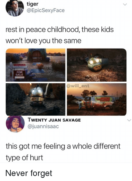Love, Memes, and Savage: tiger  @EpicSexyFace  rest in peace childhood, these kids  won't love you the same  FORECLOSURL  FOR  SALE  @will_ent  TWENTY JUAN SAVAGE  @juannisaac  this got me feeling a whole different  type of hurt Never forget