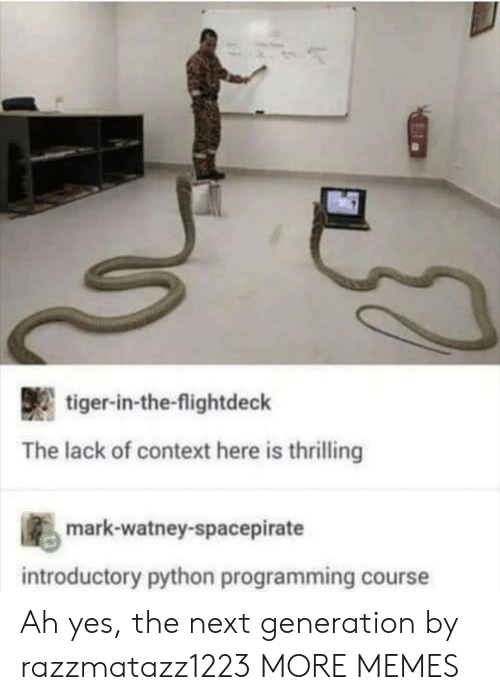Dank, Memes, and Target: tiger-in-the-flightdeck  The lack of context here is thrilling  s mark-watney-spacepirate  introductory python programming course Ah yes, the next generation by razzmatazz1223 MORE MEMES