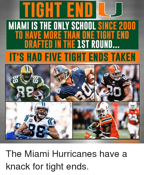 Miami Hurricane Memes >> Tightendu Miami Is The Only School Since 2000 To Have More Than One