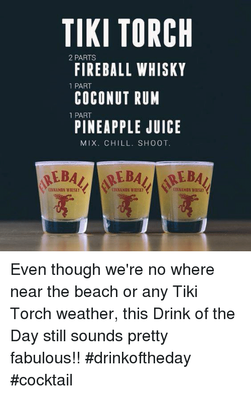 Tiki Torch 2 Parts Fireball Whisky 1 Part Coconut Rum 1 Part