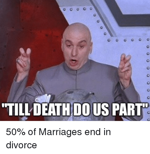 "Marriage, Death, and Divorce: TILL DEATH DOUS PART"" 50% of Marriages end in divorce"
