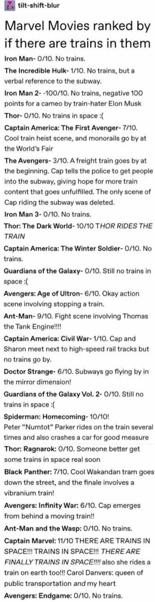 """America, Avengers Age of Ultron, and Captain America: Civil War: tilt-shift-blur  Marvel Movies ranked by  if there are trains in them  Iron Man-0/1O. No trains.  The Incredible Hulk- 1/10. No trains, but a  verbal reference to the subway  Iron Man 2--100/10. No trains, negative 100  points for a cameo by train-hater Elon Musk  Thor- 0/10. No trains in space:  Captain America: The First Avenger- 7/10.  Cool train heist scene, and monorails go by at  the World's Fair  The Avengers- 3/10. A freight train goes by at  the beginning. Cap tells the police to get people  into the subway, giving hope for more train  content that goes unfulfilled. The only scene of  Cap riding the subway was deleted  Iron Man 3-O/10. No trains.  Thor: The Dark World- 10/10 THOR RIDES THE  TRAIN  Captain America: The Winter Soldier- 0/10. No  trains  Guardians of the Galaxy- O/10. Still no trains in  space:  Avengers: Age of Ultron- 6/10. Okay action  scene involving stopping a train  Ant-Man- 9/10. Fight scene involving Thomas  the Tank Engine!!!!  Captain America: Civil War- 1/10. Cap and  Sharon meet next to high-speed rail tracks but  no trains go by.  Doctor Strange- 6/10. Subways go flying by in  the mirror dimension!  Guardians of the Galaxy Vol. 2- 0/10. Still no  trains in space:  Spiderman: Homecoming- 10/10!  Peter """"Numtot"""" Parker rides on the train several  times and also crashes a car for good measure  Thor: Ragnarok: 0/10. Someone better get  some trains in space real soon  Black Panther: 7/10. Cool Wakandan tram goes  down the street, and the finale involves a  vibranium train!  Avengers: Infinity War: 6/10. Cap emerges  from behind a moving train!!  Ant-Man and the Wasp: 0/10. No trains.  Captain Marvel: 11/10 THERE ARE TRAINS IN  SPACE!!! TRAINS IN SPACE!! THERE ARE  FINALLY TRAINS IN SPACE!!!! also she rides a  train on earth too!!! Carol Danvers: queen of  public transportation and my heart  Avengers: Endgame: 0/10. No trains."""