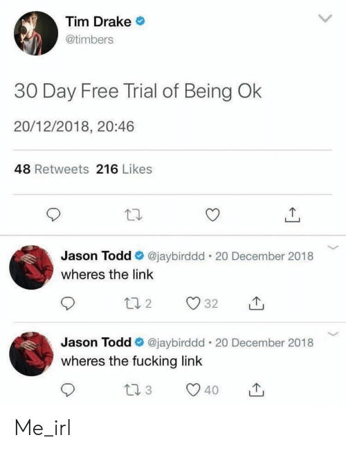 Drake, Fucking, and Free: Tim Drake  @timbers  30 Day Free Trial of Being Ok  20/12/2018, 20:46  48 Retweets 216 Likes  Jason Todd @jaybirddd 20 December 2018  wheres the link  Jason Todd *. @jaybirddd-20 December 2018  wheres the fucking link Me_irl