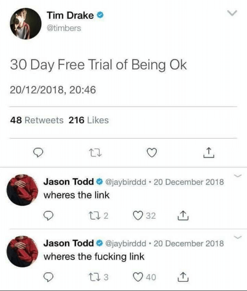 Drake, Fucking, and Free: Tim Drake  @timbers  30 Day Free Trial of Being Ok  20/12/2018, 20:46  48 Retweets 216 Likes  Jason Todd @jaybirddd . 20 December 2018  wheres the link  Jason Todd@jaybirddd. 20 December 2018  wheres the fucking link