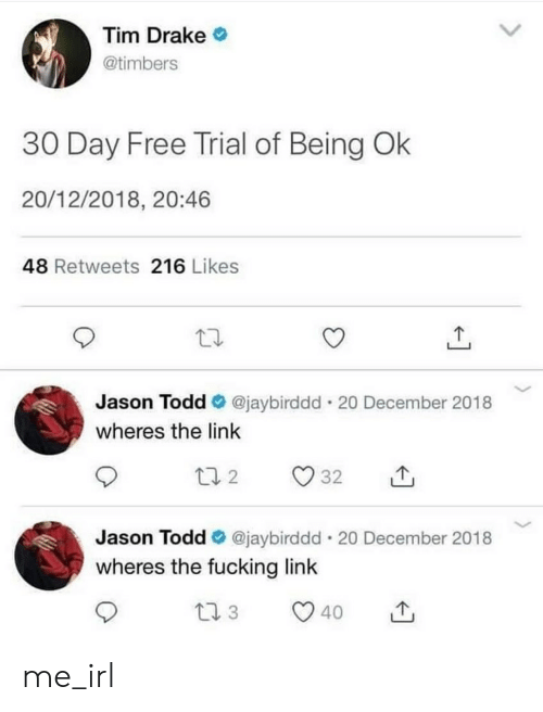 Drake, Fucking, and Free: Tim Drake  @timbers  30 Day Free Trial of Being Ok  20/12/2018, 20:46  48 Retweets 216 Likes  Jason Todd @jaybirddd-20 December 2018  wheres the link  Jason Todd e. @jaybirddd-20 December 2018  wheres the fucking link me_irl