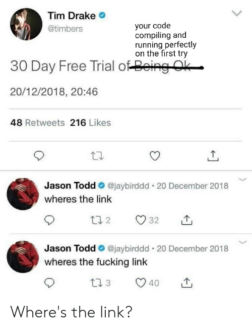 Drake, Fucking, and Free: Tim Drake  @timbers  your code  compiling and  running perfectly  on the first try  30 Day Free Trial o4енно  20/12/2018, 20:46  48 Retweets 216 Likes  Jason Todd @jaybirddd. 20 December 2018  wheres the link  2。32山  Jason Todd @jaybirddd 20 December 2018  wheres the fucking link Where's the link?