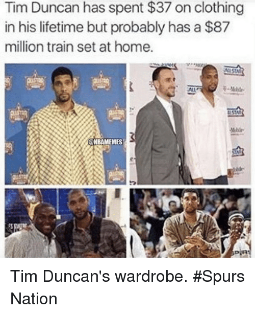 Nba, Tim Duncan, and Nationals: Tim Duncan has spent $37 on clothing  in his lifetime but probably has a $87  million train set at home.  @NBAMEMES Tim Duncan's wardrobe. #Spurs Nation