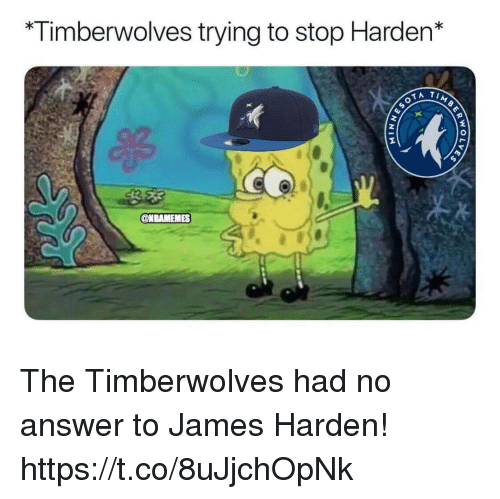James Harden, Answer, and James: Timberwolves trying to stop Harden* The Timberwolves had no answer to James Harden! https://t.co/8uJjchOpNk