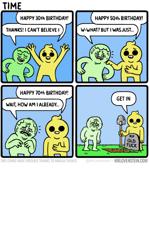 Birthday, Happy, and Time: TIME  HAPPY 30th BIRTHDAY!  HAPPY 50th BIRTHDAY!  THANKS!I CAN'T BELIEVEI  W-WHAT? BUT I WASJUST...  HAPPY 70th BIRTHDAY  GET IN  WAIT, HOW AMIALREADY..  RIP  OLD  FUCK  THIS COMIC MADE POSSIBLE THANKS TO NIKOLAI THUNES @MrLovenstein MRLOVENSTEIN.COM