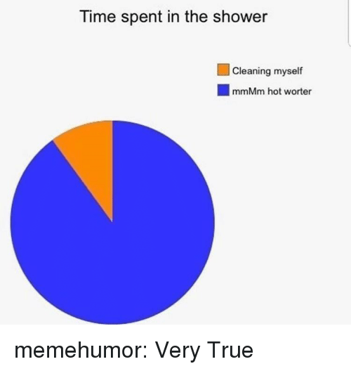 Shower, True, and Tumblr: Time spent in the shower  Cleaning myself  mmMm hot worter memehumor:  Very True