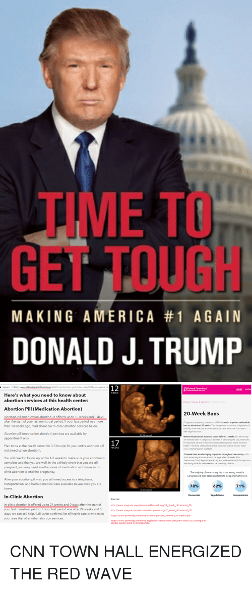 """cnn.com, Complex, and Doctor: TIME TO  GET TOUGH  DONALD J. TRUMP  MAKING AME R ICA #1 AGAIN   Secure https://www.plannedparenthood.org/health-center/new-york/new-york/10012/margaret-sa  Planned Parenthood""""  Planted Parenthood Action Fund  ISSUES LOCAL  WEEKS  Here's what you need to know about  abortion services at this health center:  Home > Issues > Abortion 》 20-Week Bans  Abortion Pill (Medication Abortion)  20-Week Bans  Abortion pill (medication abortion) is offered up to 10 weeks and 0 days  after the start of your last menstrual period. If your last period was more  than 10 weeks ago, read about our in-clinic abortion services below  Congress is preparing to vote on a bill that would impose a nationwide  ban on abortion at 20 weeks. This dangerous, out-of-touch legislation is  nothing more than yet another attempt to restrict women's access to  safe, legal abortion.  Abortion pill (medication abortion) services are available by  appointment only  3D Ultrasound  Nearly 99 percent of abortions occur before 21 weeks, but when they  are needed later in pregnancy, it's often in very complex circumstances.  For example, severe fetal anomalies and serious risks to the woman's  health -the kind of situations where a woman and her doctor need  every medical option available  Plan to be at the health center for 3-5 hour(s) for your entire abortion pill  visit (medication abortion)  WEEKS  20-week bans are also highly unpopular throughout the country. 61%  of all voters say abortion should be legal after 20 weeks. Plus  Democrats (78%), Republicans (62%) and Independents (71%) say this is  the wrong issue for lawmakers to be spending time on.  You will need to follow up within 1-2 weeks to make sure your abortion is  complete and that you are well. In the unlikely event that you are still  pregnant, you may need another dose of medication or to have an in  clinic abortion to end the pregnancy  The majority of voters say this is the wrong issue for  Congress and their """