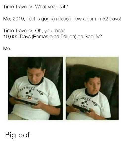 Time Traveller What Year Is It? Me 2019 Tool Is Gonna Release New